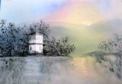 Boathouse original watercolor painting