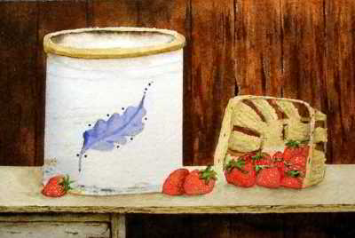 strawberry jam original watercolor painting