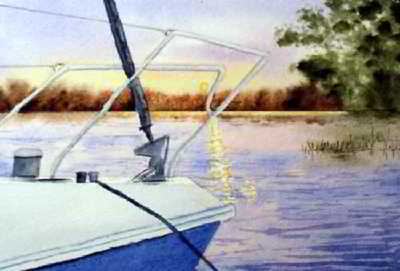 Sunset Cruise original watercolor painting